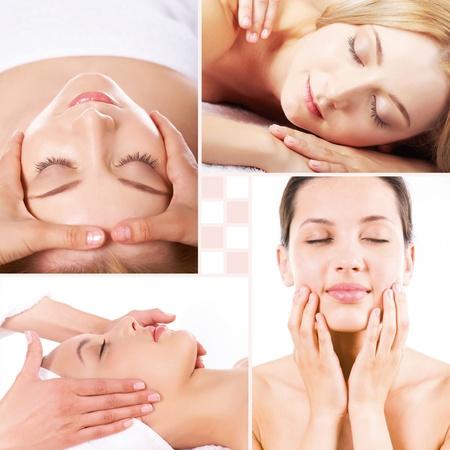facial massage: Collage de massage du visage et du corps Banque d'images