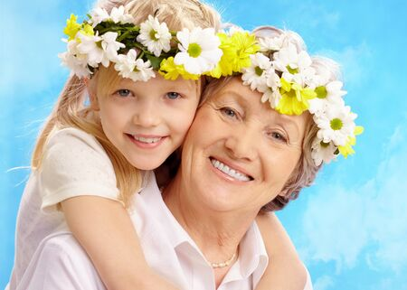 Image of grandmother and granddaughter having fun   photo
