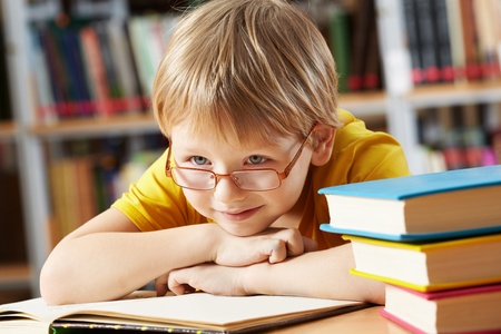 elementary kids: Portrait of clever boy with open book in library Stock Photo