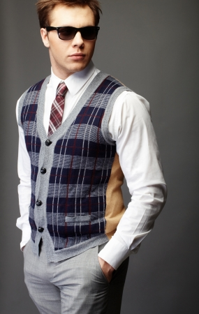 Image of elegant man in fashionable clothes posing before camera Stock Photo - 9633897
