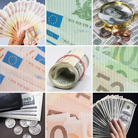 Collage of different cash Stock Photo - 9633974