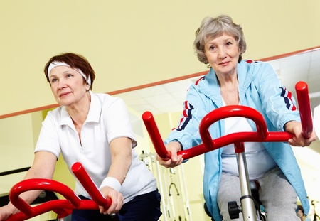 Portrait of senior females doing physical exercise on special equipment Stock Photo - 9675412