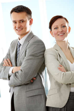 Portrait of successful colleagues posing in front of camera Stock Photo - 9725200