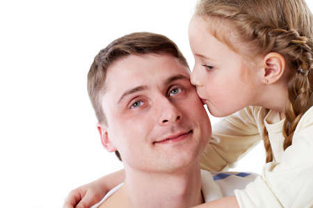 Cute girl kissing her father Stock Photo - 9725521