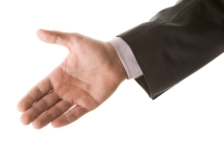 arms trade: Photo of human palm giving it for a handshake