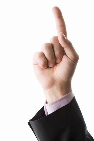 dictatorial: Photo of human hand with forefinger pointing upwards