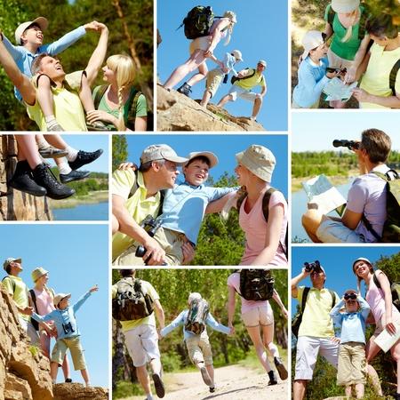collage caras: Collage de miembros de la familia durante las vacaciones de verano