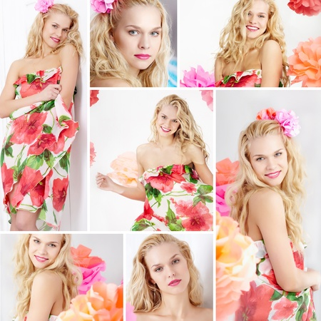 Collage of happy woman in smart dress looking at camera Stock Photo - 9725423