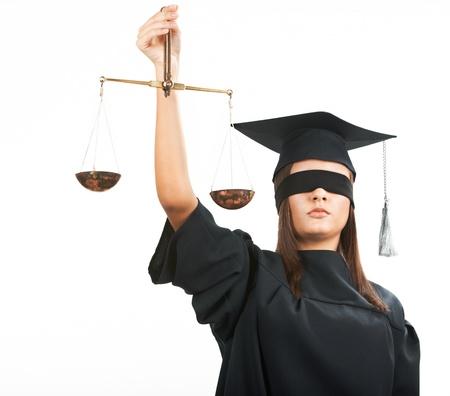augenbinde: Junger Anwalt mit geschlossenen Augen der Waage Lizenzfreie Bilder