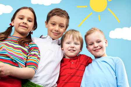 Group of adorable kids looking at camera in creative environment Stock Photo - 9725854