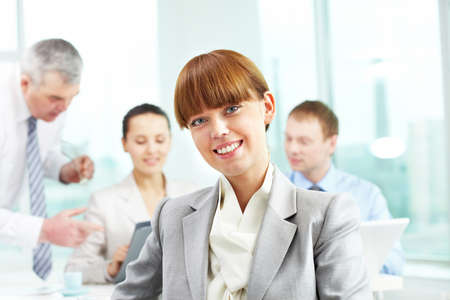 Portrait of smart employer looking at camera in working environment Stock Photo - 9725734