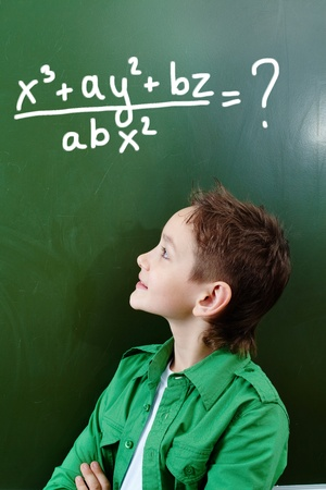 schoolchild: Portrait of smart lad looking at blackboard with algebraic formula on it