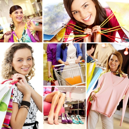 mall: Collage of images with young female shoppers