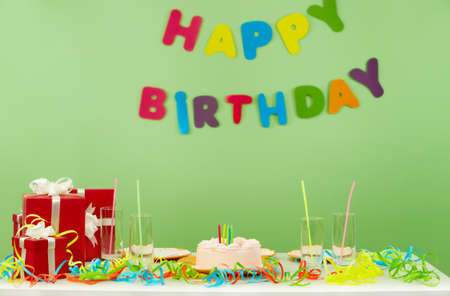 party room: Image of room prepared for birthday party