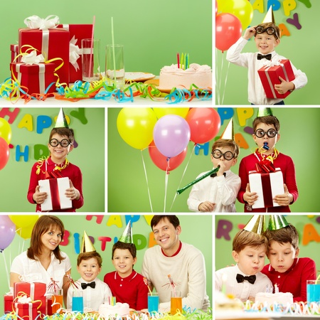 birthday adult: Collage of family members celebrating birthday and holiday mood Stock Photo
