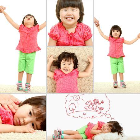 Portret cute dziecka w różnych sytuacjach