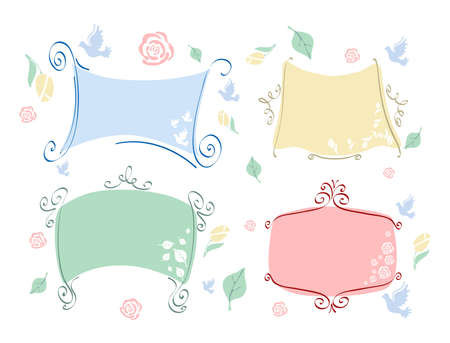 Vector illustration of four pastel frames with different elements  illustration