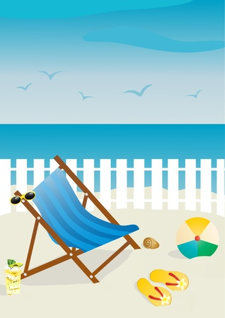 deckchair: Vector illustration of beach chair with sunglasses and ball, flip-flops, cocktail on sand  Stock Photo