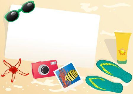 Vector illustration of paper with sunglasses, camera, photo, flip-flops, starfish, cream illustration