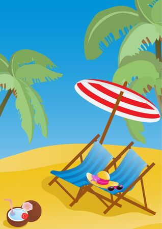 Vector illustration of lounge chaises with umbrella on the beach illustration