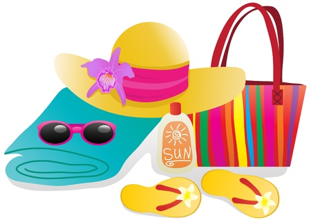 Vector illustration of beach objects for vacation illustration