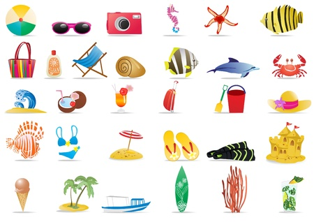 starfish beach: Collection of summer icons, vector illustration