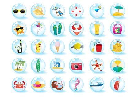 Vector illustration of summer beach travel icons    illustration
