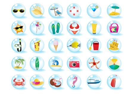 fish in ball: Vector illustration of summer beach travel icons