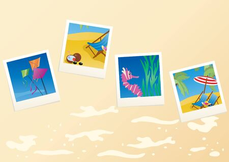 Vector illustration of vacation cards on sandy background Stock Illustration - 9726261