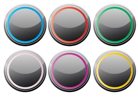 glance: Vector illustration of black glance buttons with various color rings Stock Photo
