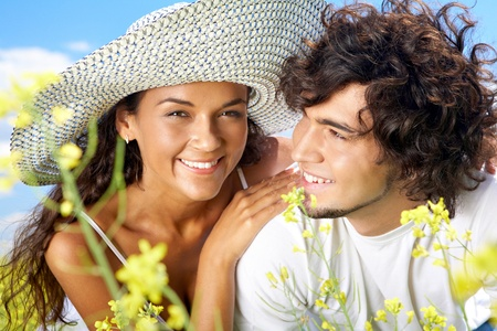 Portrait of happy couple spending time outside Stock Photo - 9726977