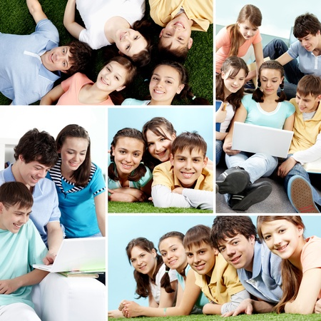 young youth: Collage of a group of teenagers