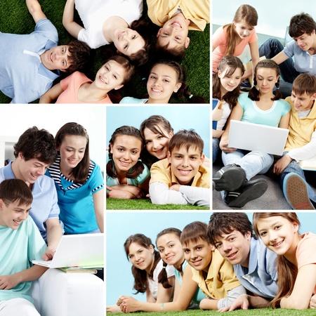 młodzież: Kolaż z grupÄ… nastolatków