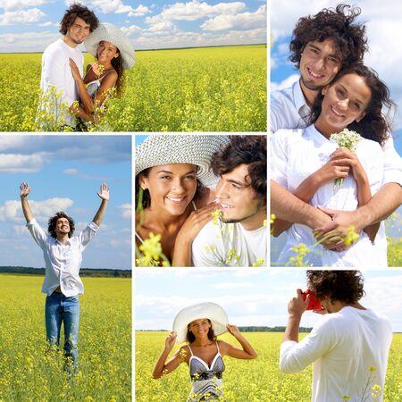 novio: Collage de una pareja en el campo de verano