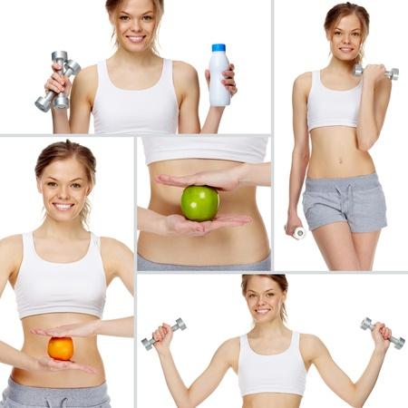 dieting: Collage gemaakt van meisje beoefenen van gezonde levensstijl