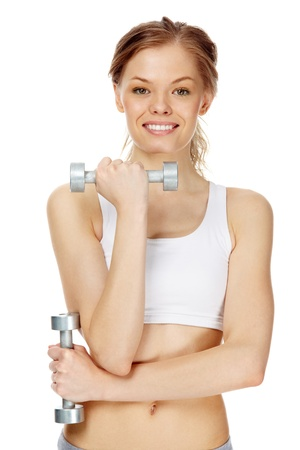 Image of sporty smiling woman with dumbbells photo