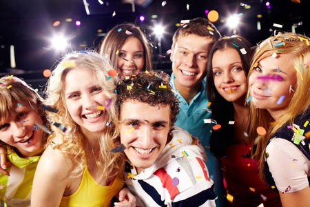 Portrait of happy glamorous friends in a night club Stock Photo - 9726564