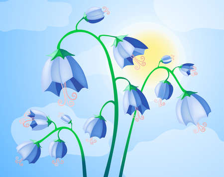 Vector illustration of blue bells on the background of sky  illustration