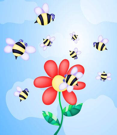 Vector illustration of bees flying near flower illustration
