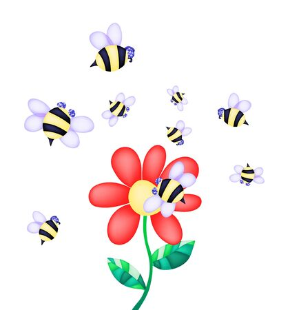 Vector illustration of flower and bees on a white background  Stock Illustration - 9726481