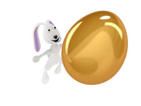 3D illustration of funny rabbit throwing a golden egg illustration
