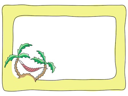 Vector illustration of frame with palm trees and a hammock    illustration