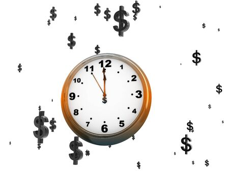 3D illustration of a clock-face among dollar signs  illustration
