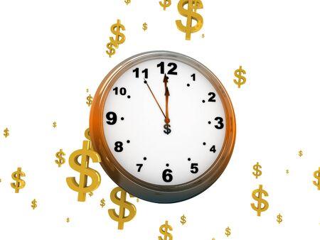clockface: 3D illustration of a clock-face hanging among dollar signs