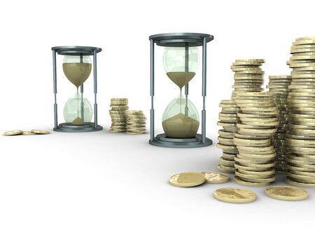 money time: 3D illustration of two sand clocks with stack of coins