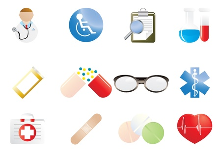 Collection of hospital and medical icons illustration  illustration
