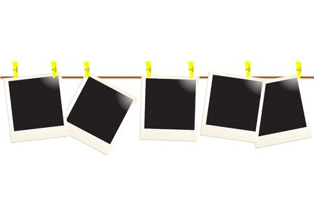 Instant photos of attach to rope, vector illustration Imagens