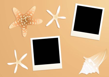 Vector illustration of empty photos with starfishes and seashell near by on a sandy background  illustration