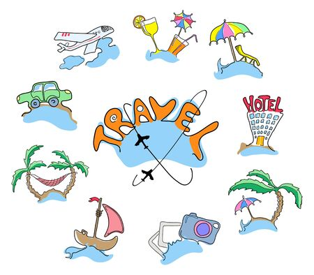 Collection of icons travel, vector illustration illustration