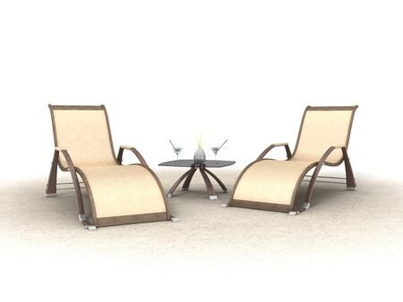 3D illustration of a two chaise lounges with martini glass on table illustration